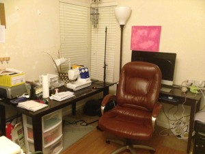 A messy home office, which was organized by Creative Organizing